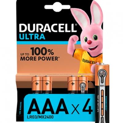 Батарейки Duracell AAA LR03 MN2400 Ultra уп. 1x(3+1) шт.