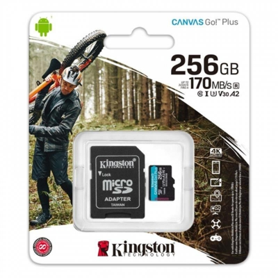 Карта пам'яті MicroSDXC 256GB UHS-I/U3 Class 10 Kingston Canvas Go! Plus