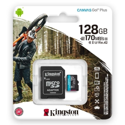 Карта пам'яті MicroSDXC 128GB UHS-I/U3 Class 10 Kingston Canvas Go! Plus