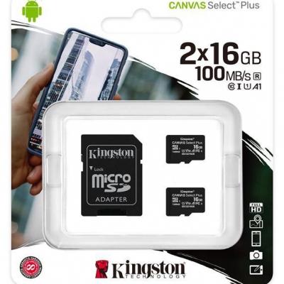 Карта пам'яті MicroSDHC 2x16GB UHS-I Class 10 Kingston Canvas Select Plus R100MB/s + SD-адаптер