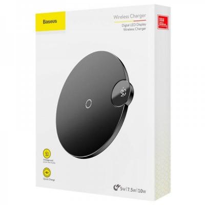 Бездротовий зарядний пристрій Baseus Digital LED Display Wireless Charger Black