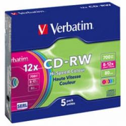 Диски CD-RW Verbatim 700MB 12x Slim
