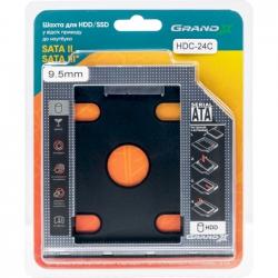 """Адаптер Grand-X HDD 2.5"""" в відсік приводу ноутбука SATA/SATA3 Slim 9,5mm"""