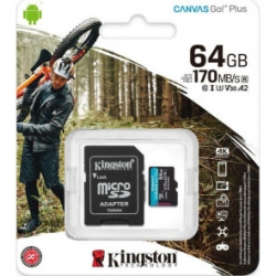 Карта пам'яті MicroSDXC 64GB UHS-I/U3 Class 10 Kingston Canvas Go! Plus