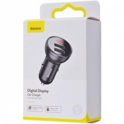 Автомобільний зарядний пристрій Baseus Digital Display Dual USB 24W Gray