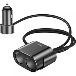 Автомобільний зарядний пристрій Baseus  One to Two Cigarette Lighter Black