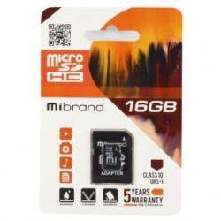 Карта пам'яті Mibrand microSDHC 16GB Class 10